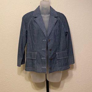 Chico's Blue Denim Blazer Jacket Small